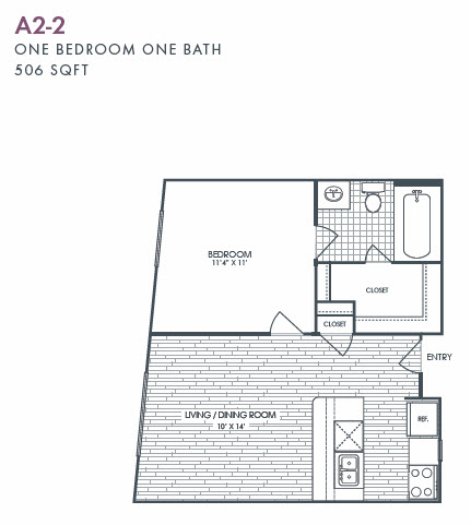 506 sq. ft. A2-2 floor plan