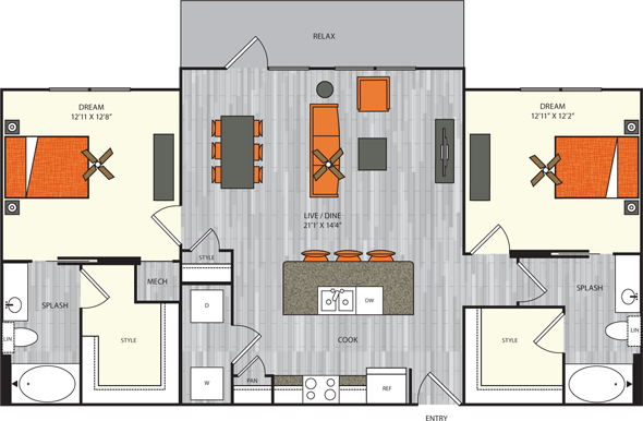 1,213 sq. ft. B4 floor plan