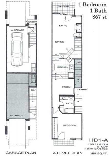 867 sq. ft. SA2 floor plan