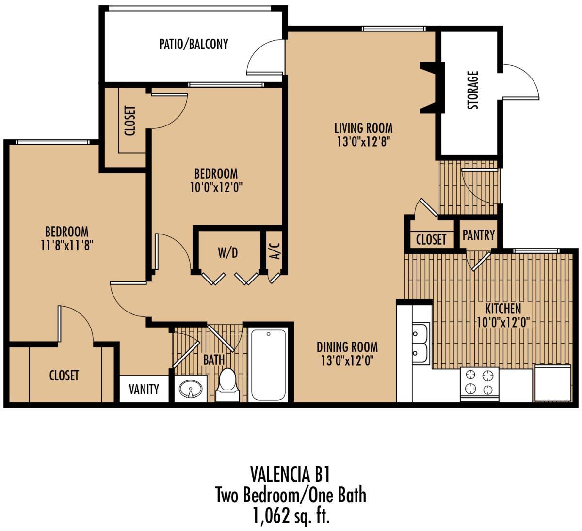 1,062 sq. ft. A2 floor plan