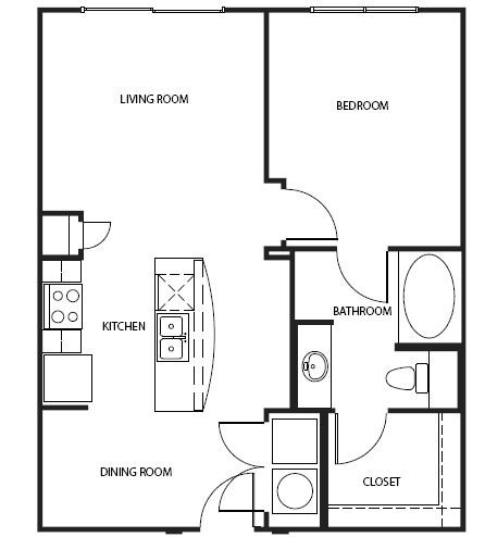 723 sq. ft. A1-B floor plan