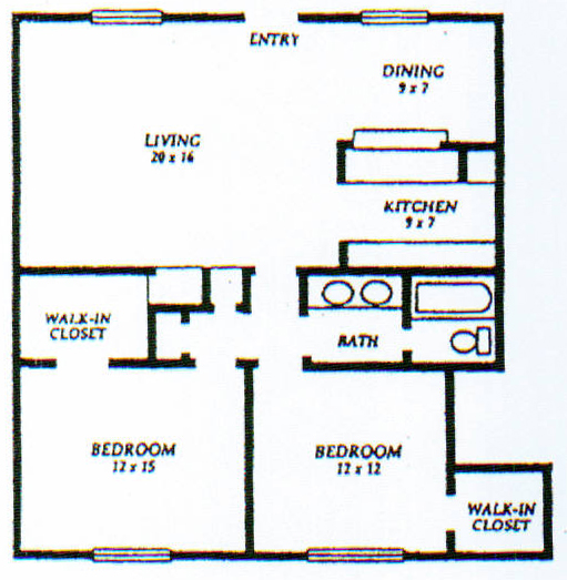 1,005 sq. ft. D floor plan