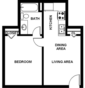 550 sq. ft. Ayers floor plan
