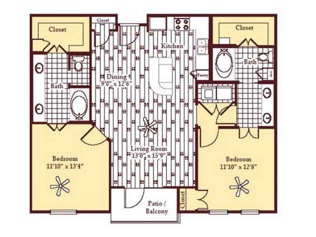 1,113 sq. ft. B1 floor plan