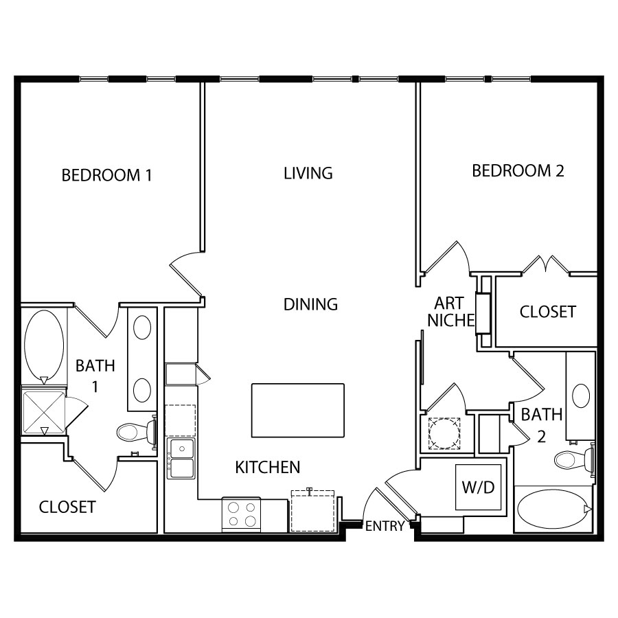 1,142 sq. ft. B3-1 floor plan