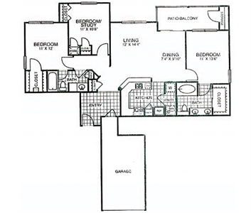 1,253 sq. ft. to 1,354 sq. ft. C1*GAR floor plan