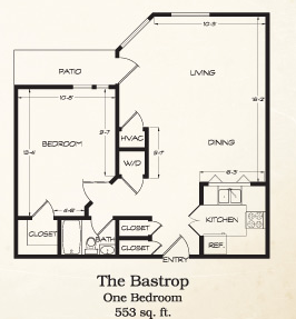 553 sq. ft. Bastrop floor plan