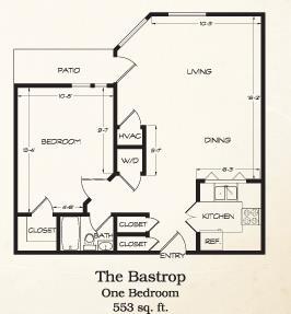 553 sq. ft. Bastrop floor plan