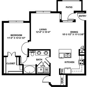 839 sq. ft. A6 floor plan