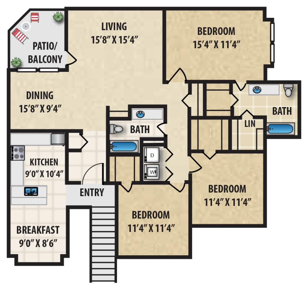 1,478 sq. ft. P3 floor plan