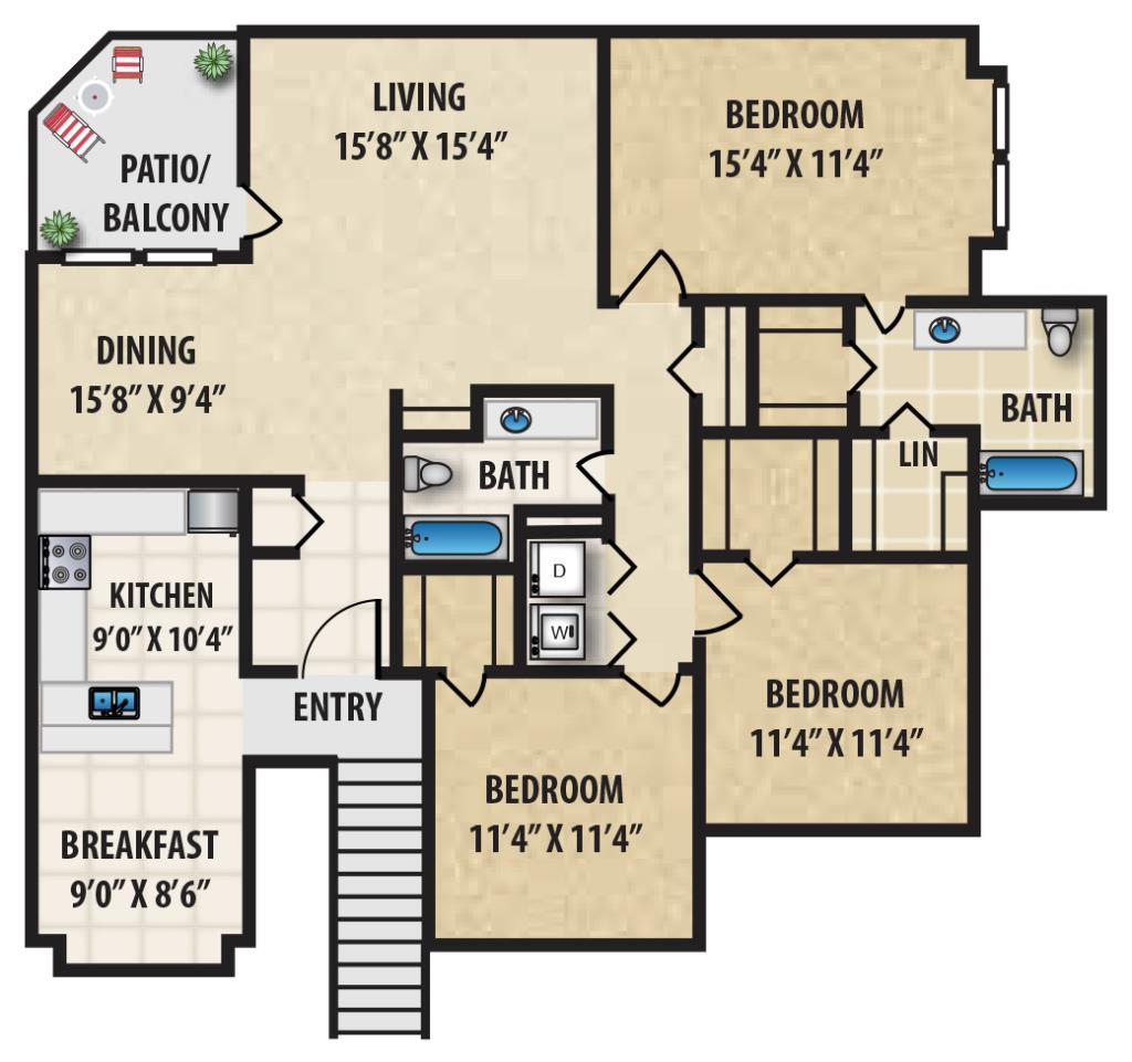 1,478 sq. ft. P3 floor plan