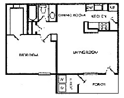 658 sq. ft. C floor plan