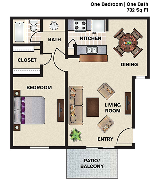 732 sq. ft. A1 floor plan