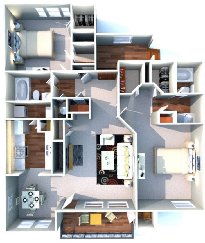 1,255 sq. ft. H floor plan