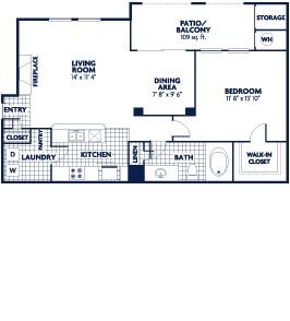 798 sq. ft. Magellan floor plan