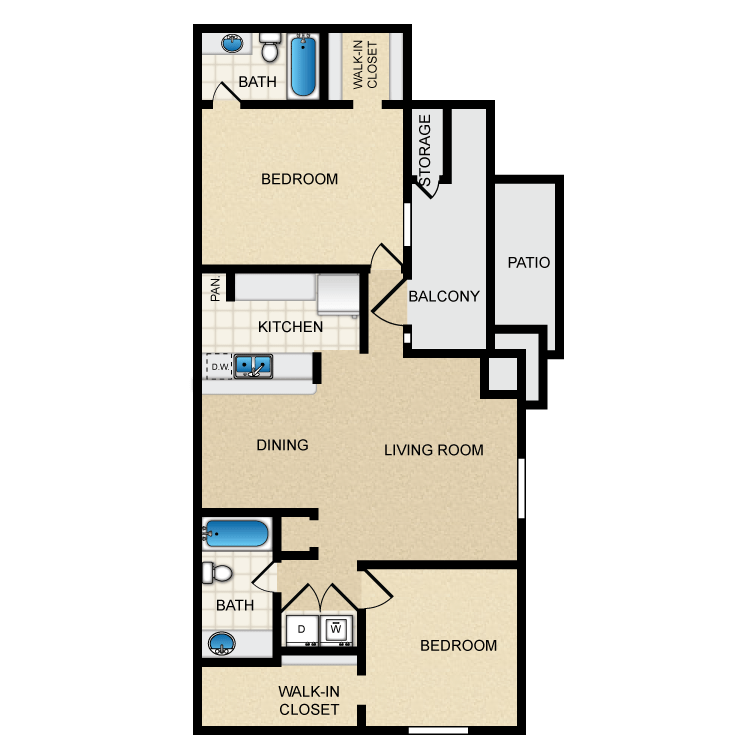 950 sq. ft. Ph1 B2 floor plan