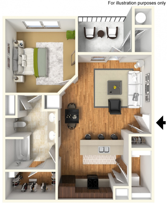 715 sq. ft. A3 30% floor plan