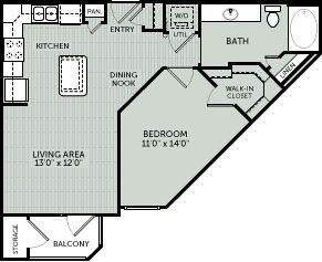 700 sq. ft. 1D floor plan