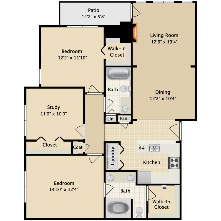 1,270 sq. ft. II B3 floor plan