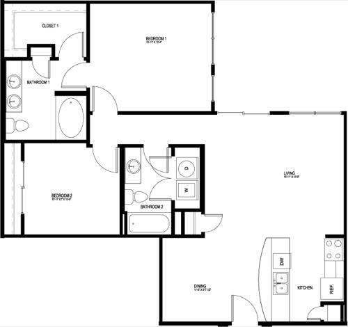 1,078 sq. ft. B5E-II floor plan