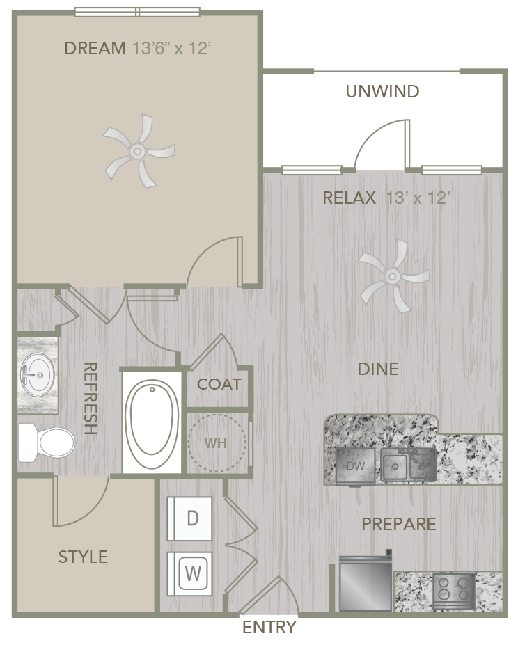 661 sq. ft. A1 floor plan