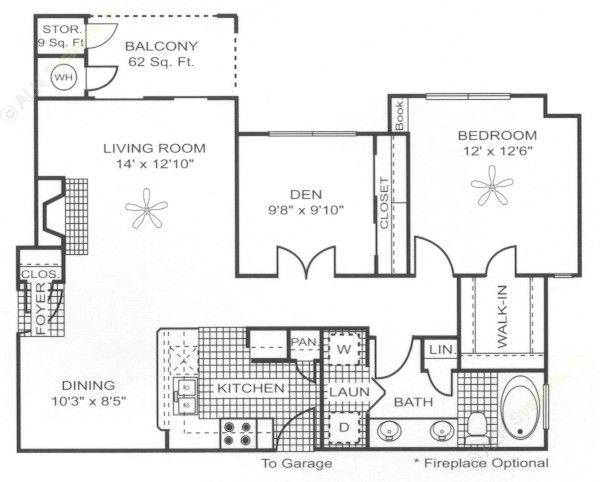 956 sq. ft. A6 floor plan