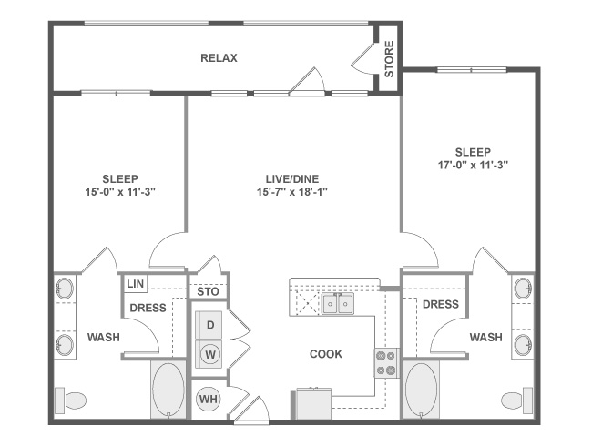 1,221 sq. ft. C6B floor plan