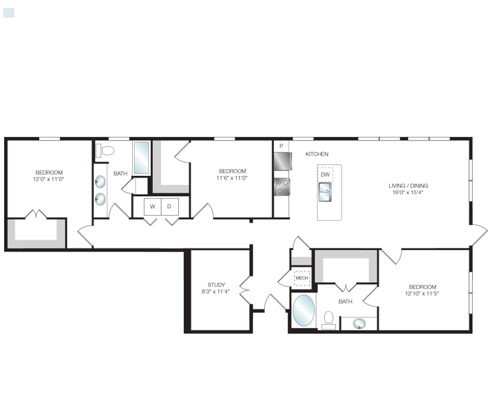 1,540 sq. ft. C1.3 floor plan