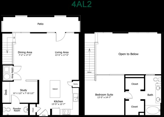 1,167 sq. ft. to 1,375 sq. ft. 4Al2 floor plan
