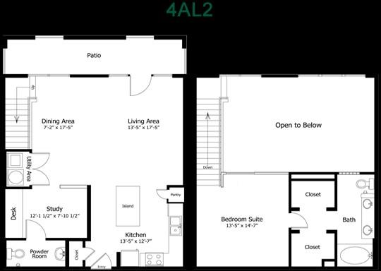 1,167 sq. ft. to 1,375 sq. ft. 4Al2 floor plan