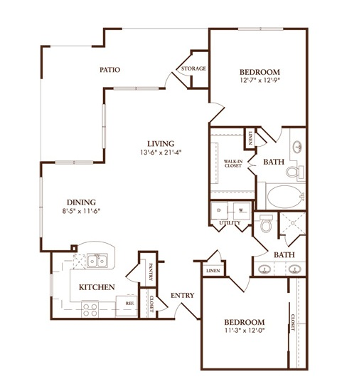 1,210 sq. ft. B3/MILANO floor plan