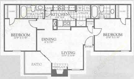 950 sq. ft. 1B1 floor plan