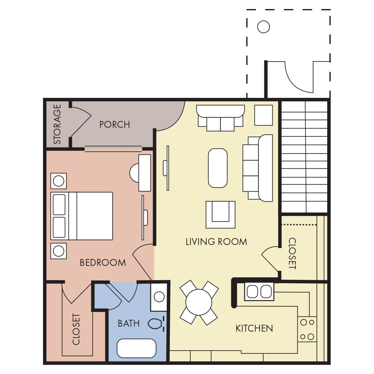740 sq. ft. A-30% floor plan