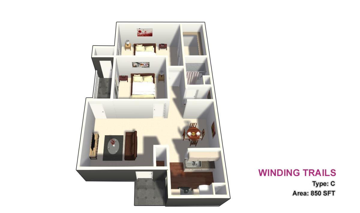 850 sq. ft. C floor plan