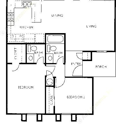 898 sq. ft. B1-FLAT floor plan