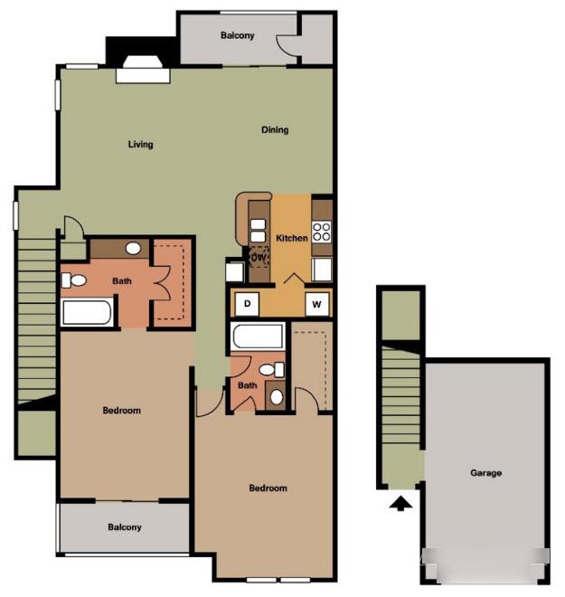 1,164 sq. ft. J2 TH floor plan