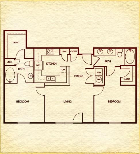 1,043 sq. ft. C4 floor plan
