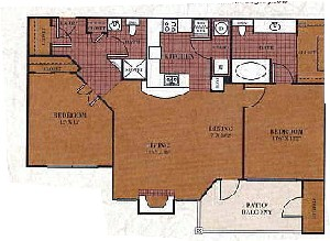 980 sq. ft. B1/FANNIN floor plan