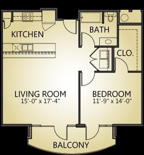 868 sq. ft. A2 floor plan