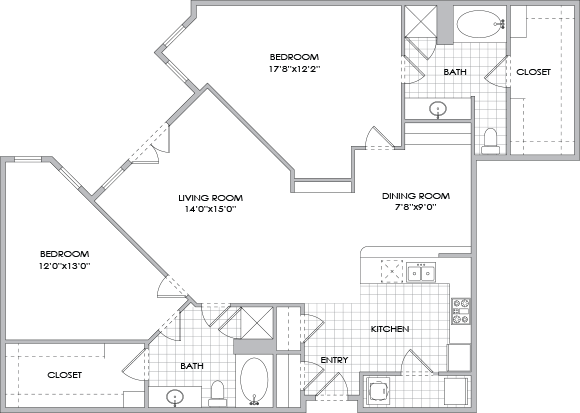 1,373 sq. ft. B8/B9 floor plan