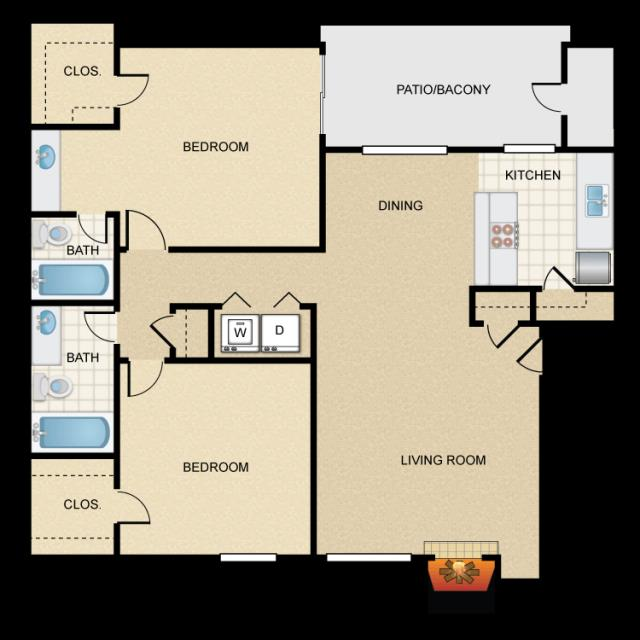 1,000 sq. ft. B2 floor plan