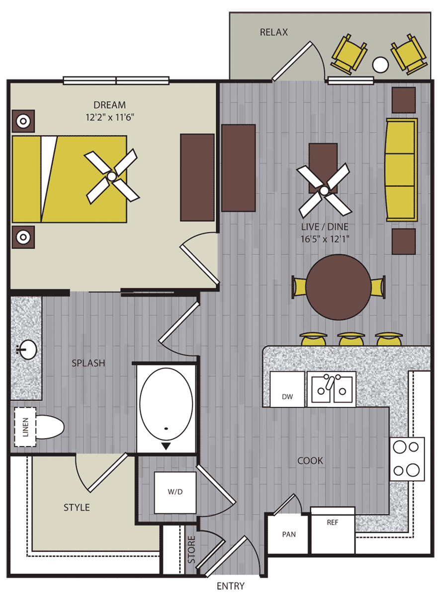 708 sq. ft. to 720 sq. ft. A10 floor plan