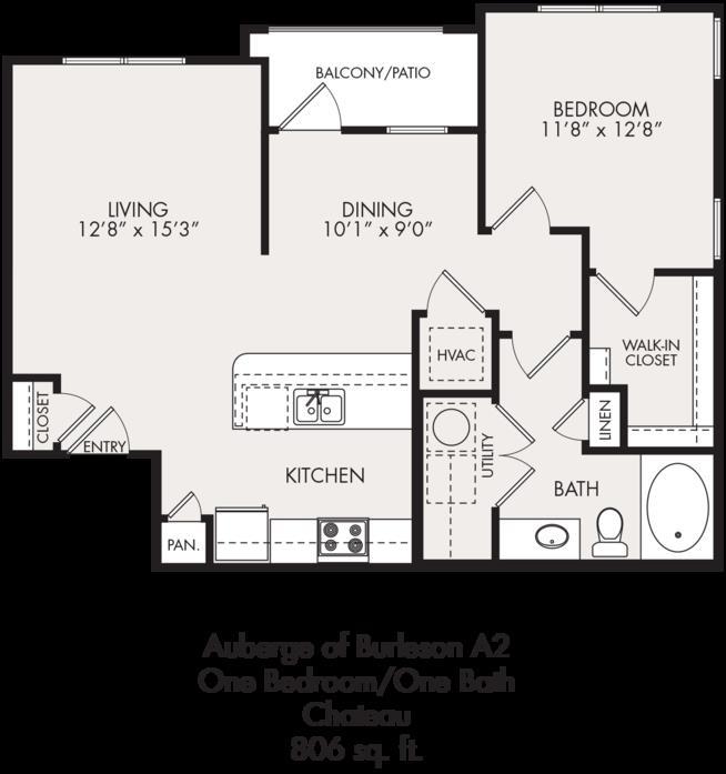 806 sq. ft. floor plan