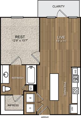 583 sq. ft. A3 floor plan