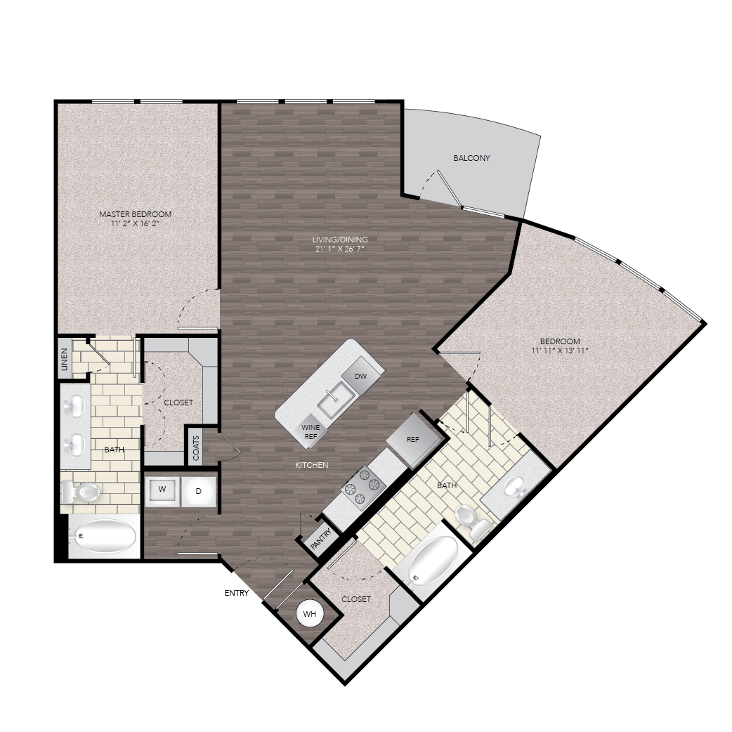 1,256 sq. ft. B5 floor plan