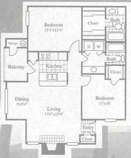 896 sq. ft. II floor plan
