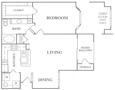 824 sq. ft. A3 floor plan