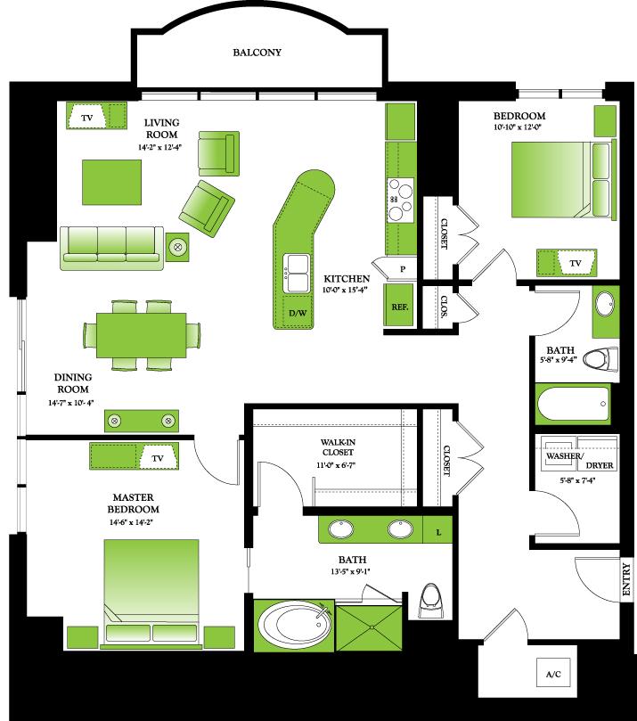 1,568 sq. ft. to 1,575 sq. ft. Cedar floor plan