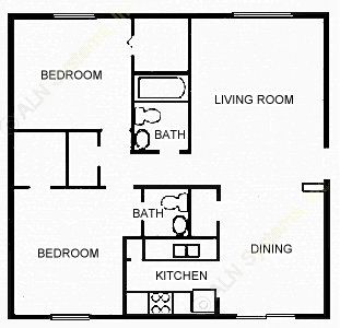 881 sq. ft. VICTORIN floor plan