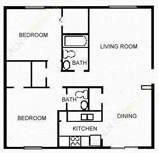881 sq. ft. VICTORIN floor plan